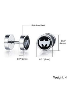 ZUNCLE Bat Man Anting Personalized Punk Rock Pria (hitam)
