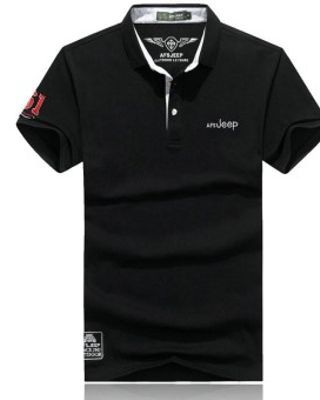 Men's Short Sleeve Cotton Lapel Casual POLO Shirt(Black) - intl