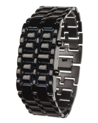 ZUNCLE Stylish 8-LED Blue Light Digit Stainless Steel Gelang Wrist Watch-1 X CR2016 (Hitam)