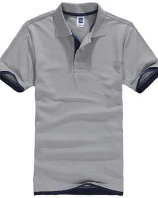 Pria Polo ShirtShort Lengan Golf Tenis Shirt (Grey + Navy Blue)-Intl