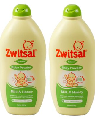 Zwitsal Baby Powder Natural Milk & Honey 300gr - 2 Pcs