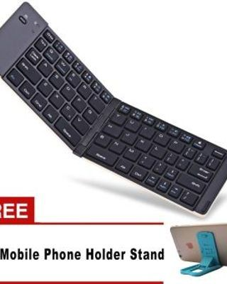 F66 Mini Wireless Bluetooth 3.0 Lipat Keyboard Aluminium Keyboard Case untuk IOS/Android/Windows smartphone Tablet PC Travels -Intl