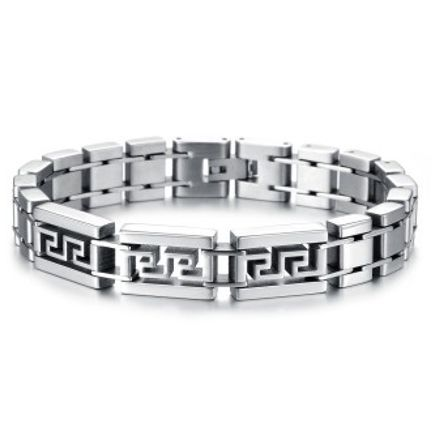 ZUNCLE Korean Fashion Jewelry Men's personality Great Wall grain titanium steel bracelet wholesale(Silver)